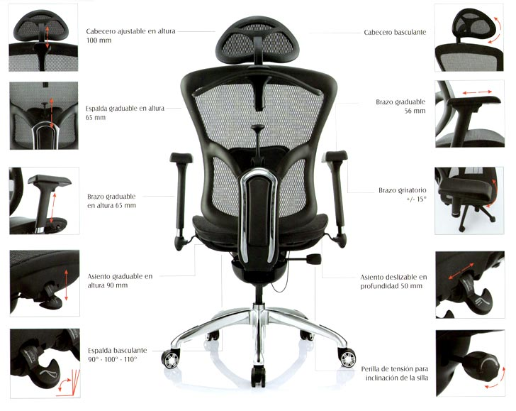 Silla ergon mica de lujo ramses for Sillas ergonomicas para oficina precio